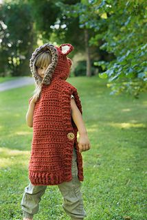 his is a crochet pattern for hooded fox poncho Max. Perfect for a little boy or girl to keep warm and look cute. Work it in gray yarn to make it into a Wolf poncho. With chunky yarn this poncho will work up quick.