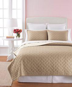 Martha Stewart Collection Basket Stitch Quilts (Tan)