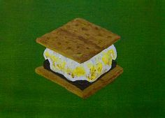 Have S'more original acrylic painting 5 x 7 by by MikeKrausArt
