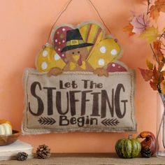Let the Stuffing Begin Burlap Wall Hanger