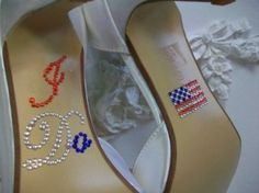 I DO Red White Blue American Flag Army Wedding Navy Wedding Air Force Wedding Marine Wedding Shoe Crystal Stickers Blue Wedding Shoes, Bridal Shoes, Bridal Footwear, Wedding Colors, Army Wedding, Military Weddings, Wedding Navy, Dream Wedding, Nautical Wedding