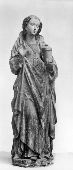 Saint Mary Magdalene  CREATOR German (Sculptor) PERIOD ca. 1480-1530 (Late Medieval) MEDIUM pine wood, paint (Sculpture) ACCESSION NUMBER 27.297 MEASUREMENTS 46 7/8 in. (119 cm) GEOGRAPHIES Ulm, Germany (?) (Place of Origin)  The Walters Museum
