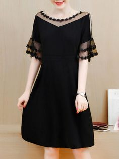 b47bceb75b See-Through Plain Layered Bell Sleeve Skater Dress In Black Buy Maxi  Dresses Online,
