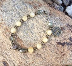 Yellow Quartz Beaded Zodiac Bracelet with gold toned  and crystals   on Etsy, $19.99