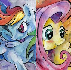My Little Pony Friendship is Magic Rainbow Dash and Fluttershy Art Prints - MLP FIM Pegasus. $25.00, via Etsy.