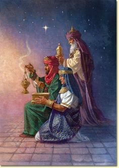 The Three Wise Men from the East, bearing gifts to the newborn King of Kings. What gift will we give to Him? Christmas Scenes, Christmas Nativity, Christmas Pictures, Christmas Fabric, Christmas Diy, We Three Kings, Three Wise Men, O Holy Night, Illustration