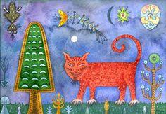 El gato rojo en la noche