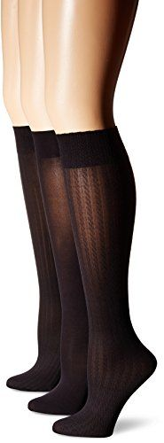 HUE Womens Cable/Rib/Opaque Knee High 3-Pack >>> Check out the image by visiting the link.