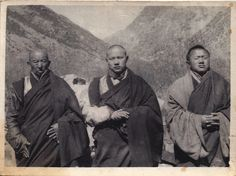16th Karmapa flanked on his right by the 11th Situpa and to his left the 6th Ponlop Rinpoche.   The photo is believed to be taken in the Late 1940's early 50's near to the seat Tsurpu Monastery of the Karmapa's who is the head of the Kagyu linage.