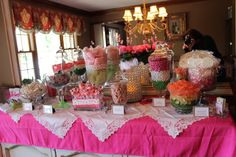 Baby shower candy table ~ it's a girl!  Flamingo theme.