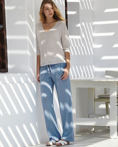 Poetry - Jersey Trousers - A wonderful pair of relaxed trousers in our garment-dyed hemp and cotton with its natural texture and marl. Great fitting elasticated waist at the back with a drawstring, herringbone-tie front. Straight leg with two patch pockets. 55% hemp 45% cotton