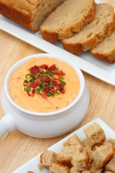 Cheddar Bacon Dip With Homemade Beer Bread
