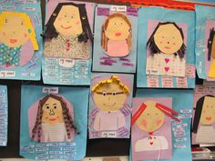 "Students design ""Mother's Day Portraits""  of their moms and write adjectives that describe their mothers for this project idea."