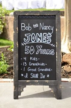 Blackboard anniversary chalkboard with little facts about the couple. 50th Wedding Anniversary Decorations, Wedding Aniversary, Wedding Anniversary Celebration, Golden Anniversary, Anniversary Ideas, Second Anniversary, Happy Anniversary, Sheila E, Anniversary Chalkboard