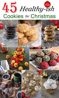 A collection of 45 healthy-ISH cookies, some gluten free, some refined sugar free, some paleo, – bec 45 best wholesome Cookies For Christmas Banana Bread Cookies, Jelly Cookies, Cherry Cookies, Cranberry Cookies, Peppermint Cookies, Cake Cookies, Chocolate Protein Bites, Healthy Peanut Butter Cookies