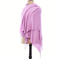 """Check out our bespoke Himalayan real Pashmina Shawl. Cashmere Wrap shown here is in our Lilac color and Diamond weave with 3"""" Twisted Knot fringe. Create yours at https://pashm.com/shop/himalayan-cashmere-wrap/"""