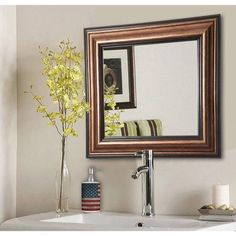 Rayne Antique Silver Square Wall Mirror, Bronze