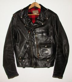 a1b514a6d886 Items similar to Vtg Original 50s Buco J-22 Wool Plaid Lined D-Pocket  Horsehide Motorcycle Jacket RARE Black Leather Biker Harley Triumph Pistol  Size 38 on ...