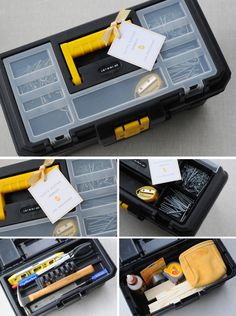 """Little Man Toolboxes - I filled up the toolbox with nails, screws, measuring tape, wood glue, wire, hammer, screwdriver, level, pliers, tool belt and pieces of wood. I removed the original label on the top of the toolbox and made one using our trusty Dymo label makers. I also added a little personalized """"HAPPY EASTER"""" tag. The boys loved their little man toolboxes and immediately set to work building an airplane and a rocket launcher contraption."""