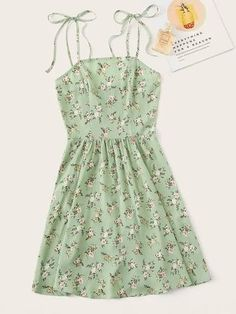 Cute and Boho Cami Ditsy Floral Flared Regular Fit Spaghetti Strap Sleeveless Natural Green and Pastel Short Length Ditsy Floral Self Tie Shoulder Dress Cute Casual Outfits, Cute Summer Outfits, Casual Dresses, Summer Dresses, Women's Dresses, Elegant Dresses, Flapper Dresses, Mini Dresses, Floral Dresses