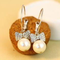 1 Pair Luxury Faux Pearl Diamante Ear Pendants Earrings Jewellery OE0198