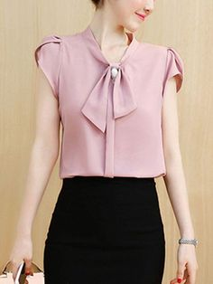 buy decorative button plain petal sleeve blouse online with cheap prices and discover fashion blouses at fashionmiacom - PIPicStats Work Fashion, Fashion Outfits, Womens Fashion, Fashion Blouses, Blouse Styles, Blouse Designs, Sewing Blouses, Petal Sleeve, Blouse Online