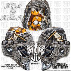 Peter Budaj's New Mask Is Regally-degally Hockey Goalie, Ice Hockey, Ontario Reign, Goalie Mask, Helmets, Nhl, Sports, Hard Hats, Hs Sports