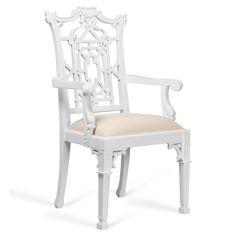 Wyman Hollywood Regency White Pagoda Armchair | Kathy Kuo Home
