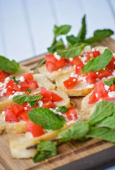 Mint and Goat Cheese Bruschetta -- perfect for summer entertaining
