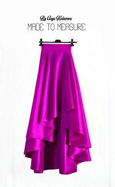High low skirt Taffeta skirt Magenta ball skirt Dip hem skirt Circle skirt Asymmetrical skirt A line Wedding skirt Formal skirt Bridal skirt Trendy Dresses, Nice Dresses, Casual Dresses, Fashion Dresses, Curvy Women Fashion, Fashion Tips For Women, Womens Fashion, Fashion Ideas, Fashion Hacks