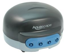 """Aquascape NEW Pond Aerator 4 . $79.98. Provides quiet, reliable operation and better air quality.. Includes winter safe tubing (with check valves) and aeration discs (4"""" diameter).. Increases circulation and oxygen levels.. Air Pump in not submersible.. Promotes a cleaner environment as it increases the breakdown of fish waste.. The Aquascape Pond Air pumps oxygenate your pond, resulting in healthier fish and plants. Aeration is also an energy efficient way to preven..."""