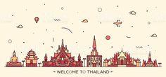 Skyline Thailand vector illustration linear style royalty-free stock vector art