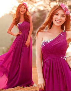 Charming Prom Dress,Chiffon Prom Dresses,One-Shoulder Prom Dresses,A-Line Evening Dress