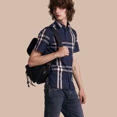 Short-sleeved Check Stretch Cotton Shirt in Indigo Blue - Men   Burberry  United States 53b7bca5e05