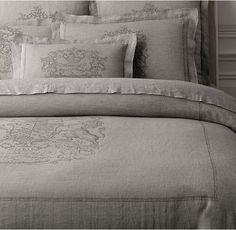 Wentworth Crest Vintage-Washed Belgian Linen Duvet Cover