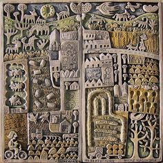 'Countryside in September' by German-born Scotland-based artist & printmaker Hilke MacIntyre Ceramic relief, edition of 27 x 27 cm. via the artist's site Sculpture Textile, Pottery Sculpture, Wall Sculptures, Sculpture Art, Ceramic Wall Art, Tile Art, Ceramic Pottery, Inchies, 3d Studio