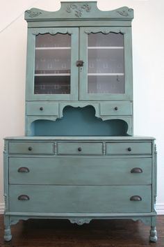 Hutch Makeover with Chalk Paint Before + After--Green Bag Lady