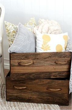 DIY vintage wood crate storage boxes- i love how the stain and the handles create a rustic look. Crate Storage, Diy Storage, Storage Boxes, Pillow Storage, Blanket Storage, Wood Storage, Storage Ideas, Homemade Storage, Decorative Storage