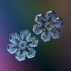 Snowflake collage: Mirror's Edge, two copies of same snow crystal, glowing on rainbow gradient background