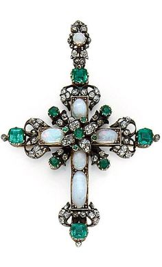 A LATE 19TH CENTURY OPAL, EMERALD, DIAMOND, SILVER AND GOLD CROSS PENDANT