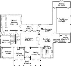 Home Plans HOMEPW17877 - 2,925 Square Feet, 4 Bedroom 2 Bathroom Greek Revival Home with 3 Garage Bays