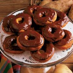 Potato doughnuts with fudge frosting. I'm  drooling over here.
