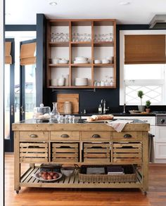 Island Bench. Kitchen. Open cupboard on wall