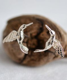 Another great find on #zulily! Sterling Silver Hummingbird Stud Earrings #zulilyfinds