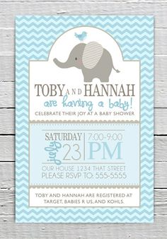 Coupon Code - REPIN10 for 10% off Custom Baby Blue Shower Invitation Printable, Baby Boy Shower with Elephant, Chevron, Baby Shower supplies $10.99