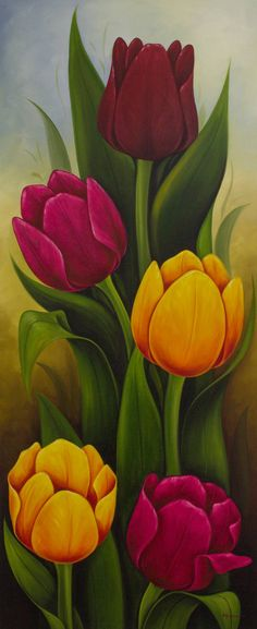 Flower Drawing 'Tulips II' - Artist Painting of Colorful Tulips from Mexico - Tulip Painting, Acrylic Painting Flowers, Acrylic Painting Canvas, Artist Painting, Watercolor Flowers, Watercolor Art, Simple Watercolor, Watercolor Animals, Watercolor Background