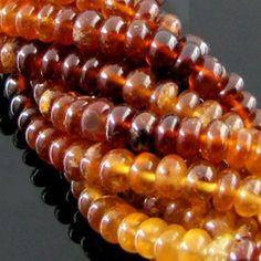 6-6.5mm - AA Hessonite Garnet Smooth Rondelle Bead Strands