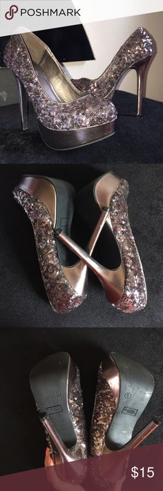 Charlotte Russe Sequin Chunky Heels • Charlotte Russe • Silver & Purple Sequin •Still in great shape • Make a little black dress stand out! • Questions, offers, more pics? • Charlotte Russe Shoes Heels