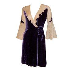 Peignoir: 1920s, silk velvet and lace with two velvet sashes.