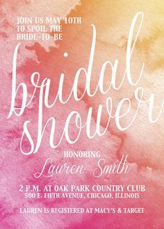 Spoil your bride-to-be with this lovely watercolor invite.